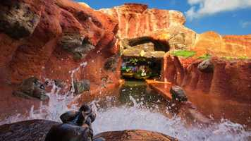 Splash Mountain contains three lifts and five drops including a five-story waterfall.