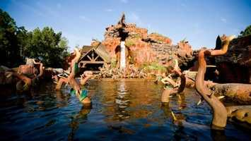 The climax of Splash Mountain is the precipitous drop and splashdown representing Br'er Rabbit being flung into the briar patch by Br'er Fox. The logs can drop as fast as 40 mph.