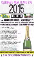 1. Church Street New Year's Eve PartyThis is the Orlando version of the New York City ball drop. You will see the orange drop at midnight with fireworks. You can also access the Church Street district, which includes Chillers, Big Belly Brewery and Latitudes.Cost: $25 entry only, $59 entry and unlimited domestics, wells and frozen drinks, $79 entry, unlimited domestics, imports, wells, calls, shots and frozen drinks, $99 same as previous plus $25 gift certificate