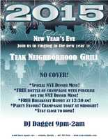 6. New Year's Eve at Teak Neighborhood GrillNo Cover!!DJ Dagget will keep the party going from 9 p.m. to 2 a.m. Guests can enjoy a special dinner menu, a free bottle of champagne with purchase off the dinner menu, free breakfast buffet at 12:30 a.m., party favors, a midnight champagne toast a midnight and more.Address:6400 Time Square Ave., Orlando, FL 32835