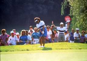 1996 - Nancy Lopez competing in the Sprint Titleholders Championship contest at the LPGA International golf club in Daytona Beach