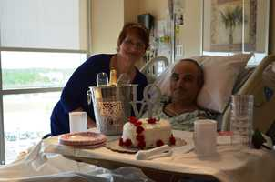 Laura Clark and Steve Legnetti tied the knot at Florida Hospital in Daytona Beach on Monday in a swiftly put together but lovely bedside wedding. The two have been together for 14 years. When Legnetti developed health problems, including a blood infection and later pneumonia, they decided not to wait any longer.