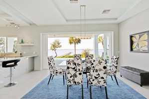 A bright blue floor plan mirrors the bright blue ocean.