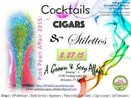 3. Cocktails, Cigars & Stilettos When: Fri., 10 p.m. - 2 a.m.Where: Dewey's Golf & Sports Pub, 7720 Turkey Lake Rd., Orlando, FLCost: Tickets are available on EventBrite. Jam out to DJ Jay J, try your luck in the poker tournament, have fun with the golf/football simulators, or relax in the jazzy cigar lounge area. Dress code bans T-shirts and sneakers. The kitchen will be open all night.