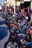 1990s: Motorcycles lined up for Bike Week