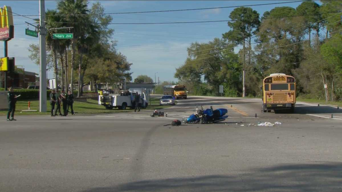 Motorcyclist killed in crash with school bus for Fish memorial hospital orange city