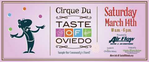"4. Taste of OviedoWhen: Saturday, March 14, 10 a.m.- 6 p.m.Where: Oviedo Mall What: The 21st annual Taste of Oviedo is showcasing businesses, talent, locals and residents that celebrate the citys uniqueness. The ""Cirque"" theme this year will include extreme jugglers, a contortionist, an aerialist and more! This kid-friendly event is free to the public and will offer samples and taste of local cuisine and drinks to all guests.  Cost: Free admission"