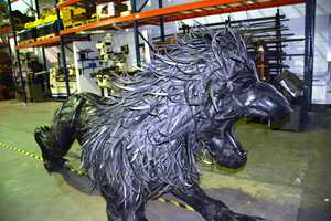 Lion made from tires