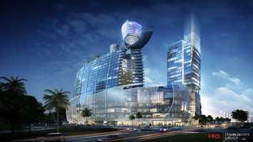 The project includes stores and two hotels, one of which will be the area's first 7-star hotel.