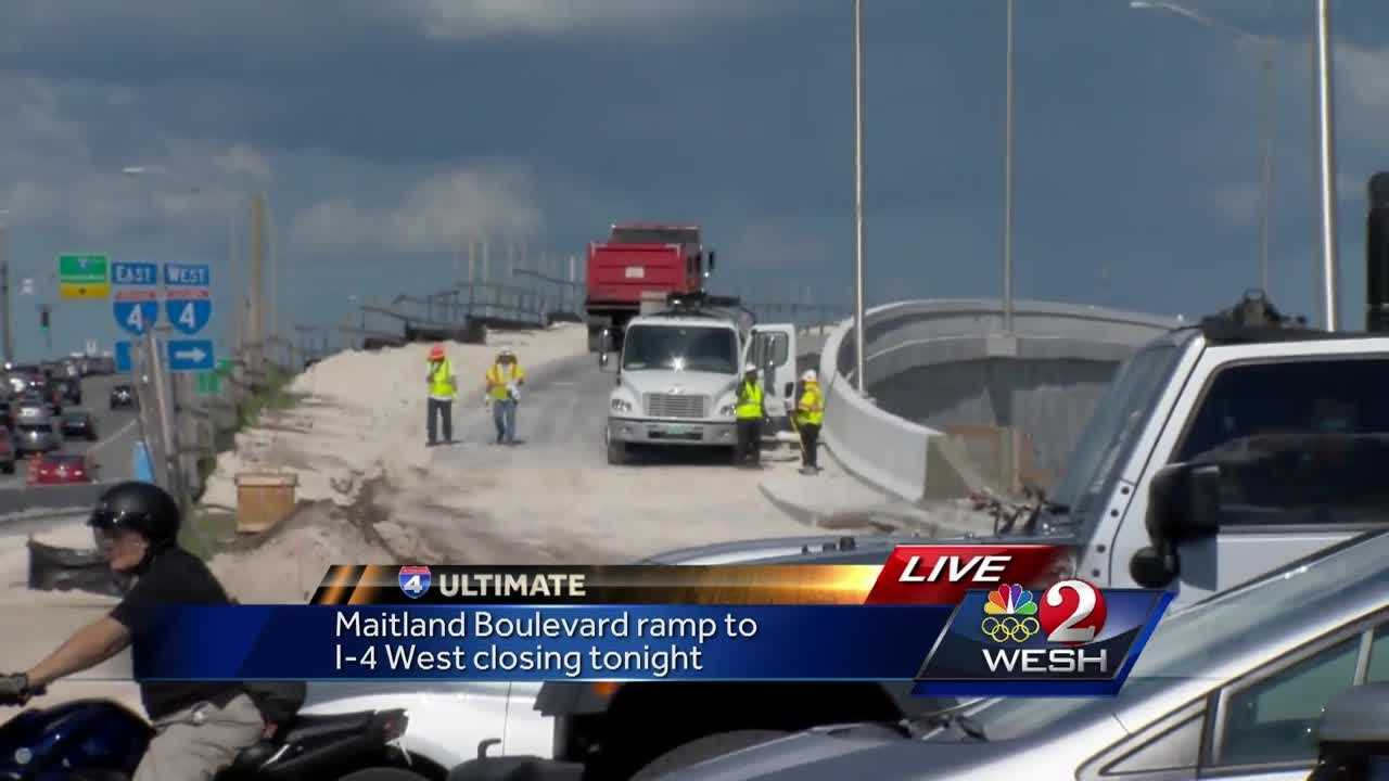 Maitland Boulevard ramp to I-4 west closing