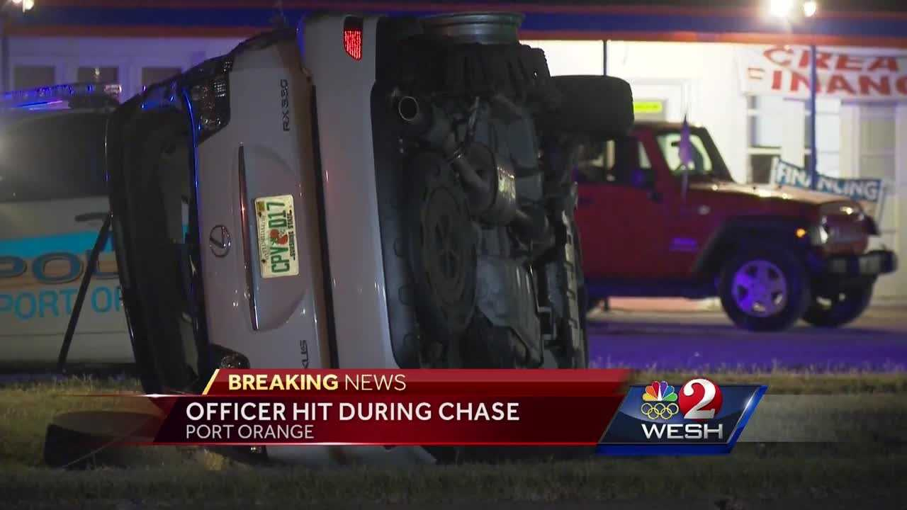 Officer struck by car during police chase