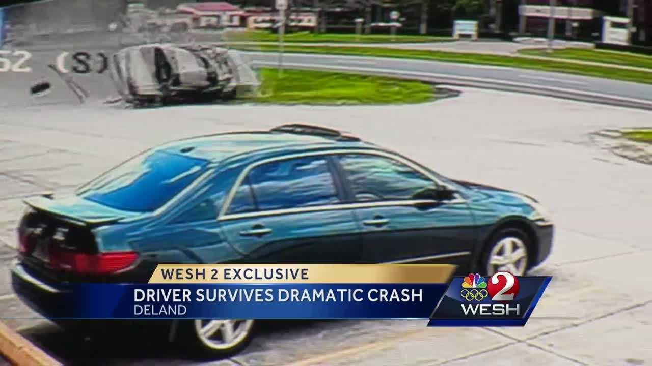 Driver survives frightening crash in DeLand