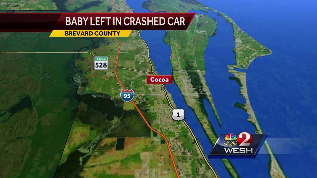 Baby left in car after crash, officials say