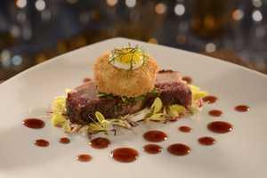 Kurobuta Pork Belly - Shank Croquette, Royal Gala Apple Slaw, Bing Cherry Gastique, Shirred Quail Egg