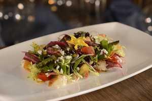 Mesclun Salad- Petite Lettuces, Market Vegetables, Fine Herbs, Barrel-aged Feta, Torn Focaccia
