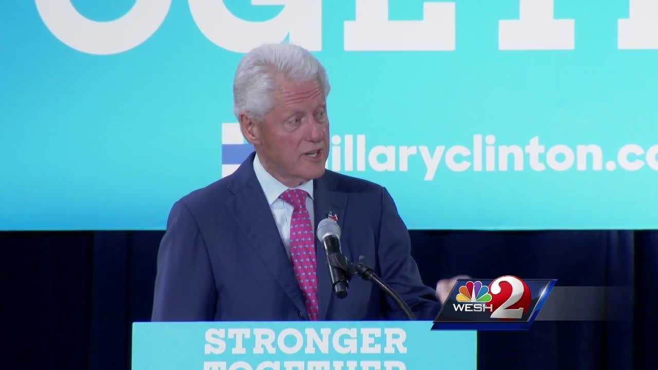 Former President Bill Clinton speaks to voters in Orlando
