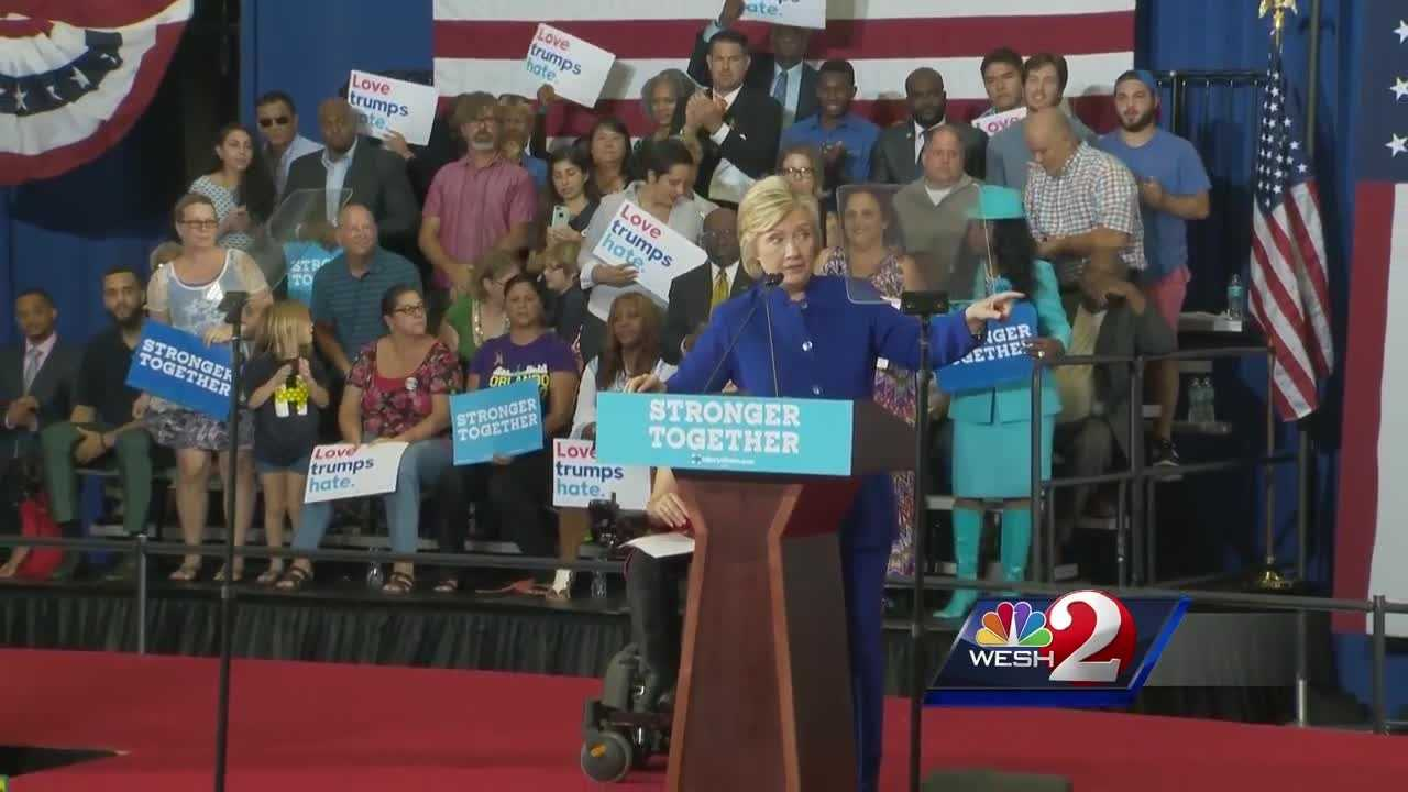 Hillary Clinton campaigns in Orlando