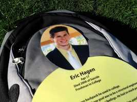 Eleven hundred backpacks are strewn across the campus of Franklin and Marshall College.