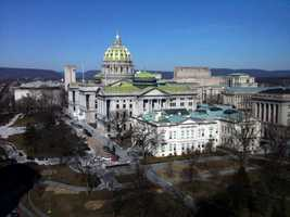 The Pa. State Capitol was designed in 1902 in a Beaux-Arts style with Renaissance themes.