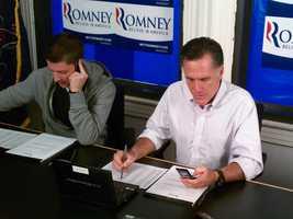 Mitt Romney calls voters from his Pennsylvania headquarters.