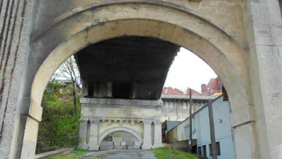 Cables and cracks can be seen on the Mulberry Street Bridge in Harrisburg.