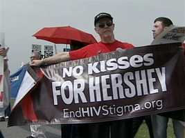 The demonstrators said the Milton Hershey School's failure to enroll a 13-year-old HIV positive boy is discrimination.