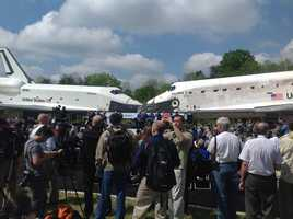 During the ceremony, Discovery was parked nose-to-nose with Space Shuttle Enterprise.