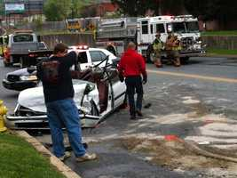 The women driving the cars were both injured and taken to the hospital, police said.