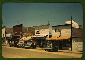 On the main street of Cascade, Idaho. Russell Lee took this photo in July 1941.