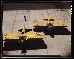 Navy N2S primary land planes at the naval Air Base in Corpus Christi, Texas. Howard R. Hollem took this image in August 1942.