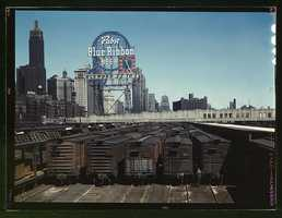 General view of part of the South Water Street freight depot of the Illinois Central Railroad in Chicago, Ill. Jack Delano captured this photo on May 1, 1943.