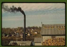 A starch factory along the Aroostook River in Caribou, Aroostook County, Me. Jack Delano took this photo in October 1940.