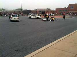 These photos show a mock crash at Elizabethtown High School.