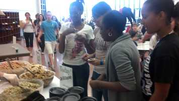 Students at Northeastern Middle School in York County sampled some healthier food at lunch Monday.