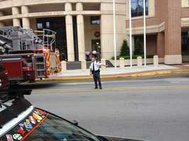 Officials say an odor of gas was leaking from a regulator outside the building.