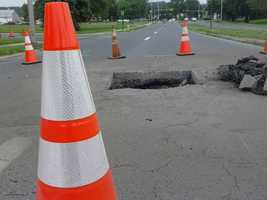 The hole has shut down the road in the area. As of around 10:30 a.m. no workers were on the scene.
