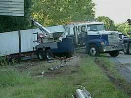 The truck driver suffered minor injuries.