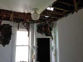 The Biglerville Borough office was heavily damaged Tuesday night when a lightning strike sparked a fire.