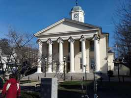 The courthouse in Bellefonte, PA where the Sandusky trial is being held.
