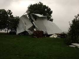 The roof was torn off of a home on List Road just south of Red Lion in York County.