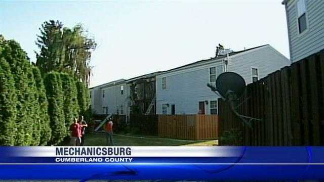The Walnut Villas apartment complex in Mechanicsburg, Cumberland County, caught on fire on Monday.