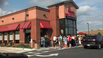 The Chick-fil-A firestorm over same-sex marriage came to the Susquehanna Valley on Wednesday.