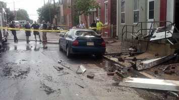 This car was damaged by falling debris.