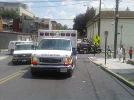 Two people were taken to a hospital after a Monday afternoon collision in Lancaster.