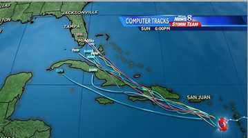 Most of the computer models have tracks in fairly good agreement, taking Isaac into south Florida by Sunday. But after that there's some divergence in the tracks into early next week.