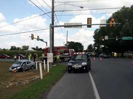 A sedan and an SUV collided at the intersection of Hartman Station and Horseshoe roads.