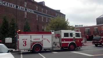 Firefighters were called to the Lancaster Arts Hotel along Harrisburg Pike about 10 a.m. Wednesday.