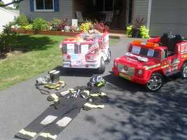 An 11-year-old boy is honoring the victims of 9/11 with a display in his driveway.