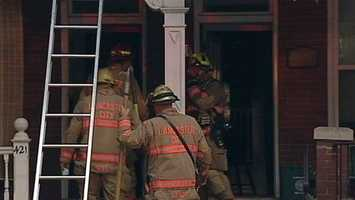 One firefighter suffered an eye injury.Everyone else made it out safely.