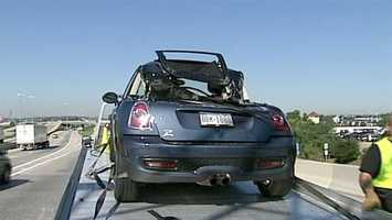 A box truck flipped Wednesday morning on Route 30 in Lancaster County and landed on the back of a Mini Cooper.